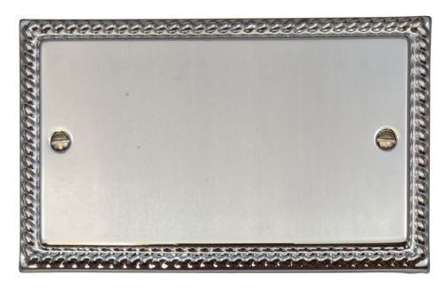 G&H MC32 Monarch Roped Polished Chrome 2 Gang Double Blank Plate